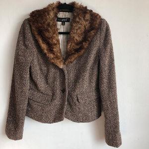 Black Rivet Brown Tweed Jacket Faux Fur Collar 6